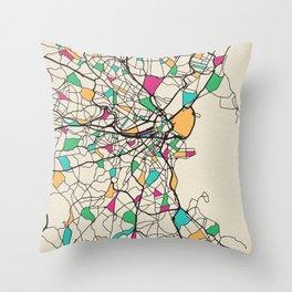 Colorful City Maps: Boston, Massachusetts Throw Pillow