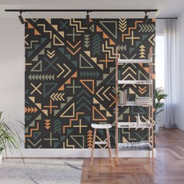 Seamless Retro  Jumble Geometric Shapes Green Orange Color Pattern Abstract  Background Wall Mural