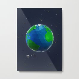 Earth in Low Poly Style Metal Print