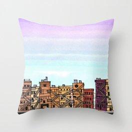 New York Purple Sky Throw Pillow