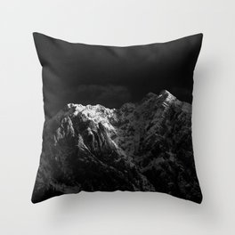 Sunlight hitting the mountains black and white Throw Pillow