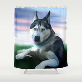 I Love Husky (Gohan the Husky) Shower Curtain