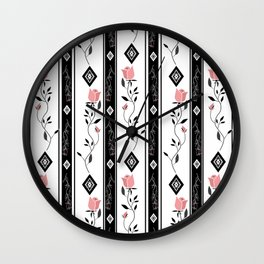 Retro pattern. Roses. Wall Clock