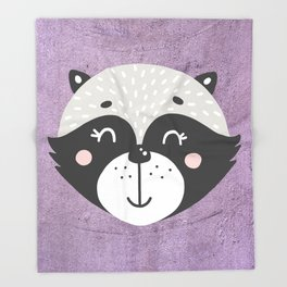 Raccoon Face Throw Blanket