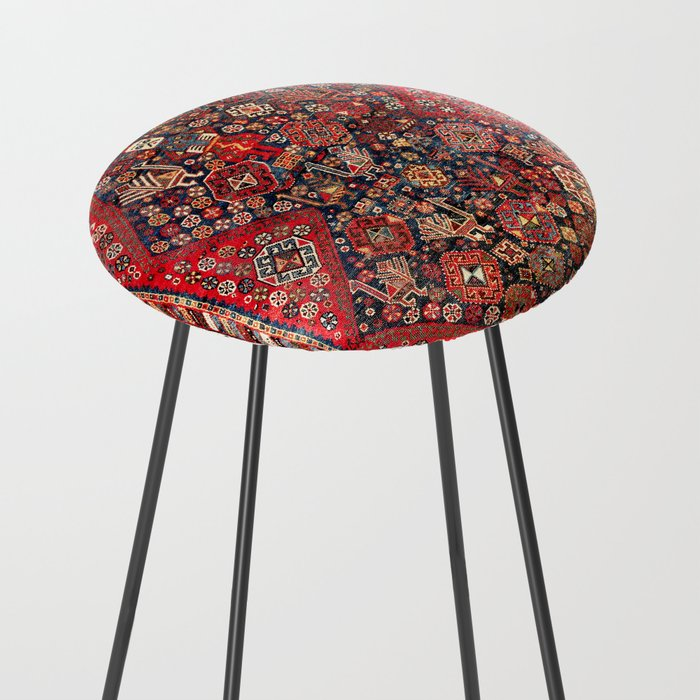 Qashqa'i Fars Southwest Persian Nomad Rug Print Counter Stool
