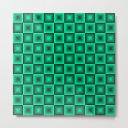 Chess tile of blue rhombs and black strict triangles. Metal Print