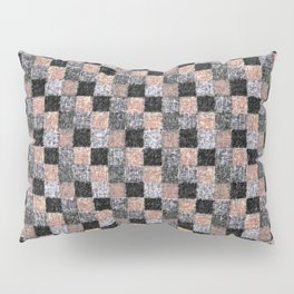 Rustic Charcoal Peach Black Patchwork Pillow Sham
