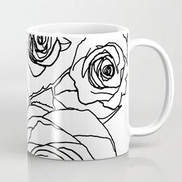 Feminine and Romantic Rose Pattern Line Work Illustration Coffee Mug