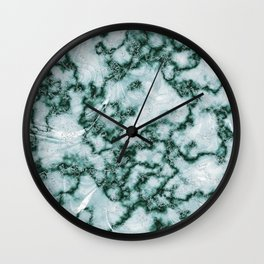Teal Green Marbled Pattern Wall Clock