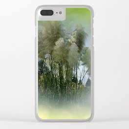 Pampas grass on textured background -1- Clear iPhone Case
