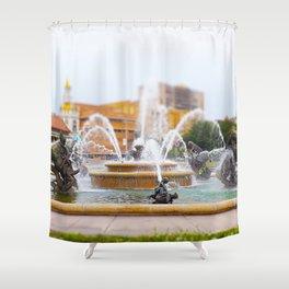 JC Nichols Horse Fountain Kansas City Country Club Plaza Tilt Shift Shower Curtain
