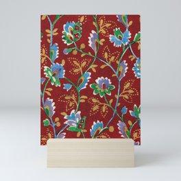 Red Folk Floral Mini Art Print