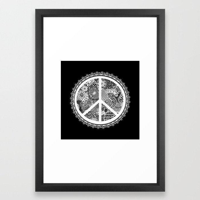 Zen Doodle Peace Symbol Black And White Framed Art Print By