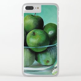 Green Apple and Tea Towel I Clear iPhone Case