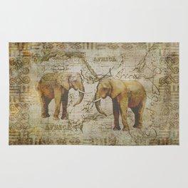 Spirit of Africa Elephant mixed media art Rug