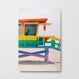 Rainbow Lifeguard Tower Metal Print