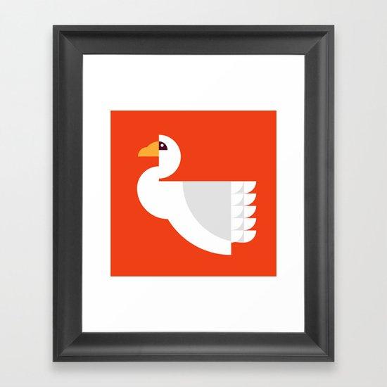 Geometric swan Framed Art Print