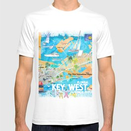 Key West Florida Illustrated Travel Map with Roads and Highlights T-shirt