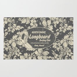 Club Surfing Longboard Logo and Hibiscus Hawaiian Print  Rug