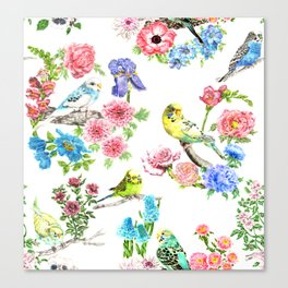 Budgies and Blooms Canvas Print