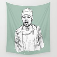 liam payne Wall Tapestries featuring Liam Payne  by Cécile Pellerin