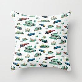 Busy Locomotives - Retro Children's Train Print Throw Pillow