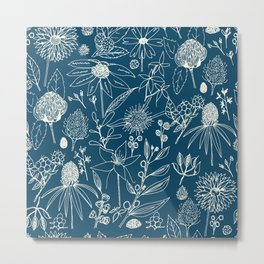 Indigo - Australian - floral - study Metal Print