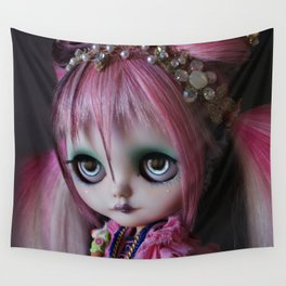 LITTLE OCTOPUS CUSTOM BLYTHE ART DOLL PINK NAVY Wall Tapestry