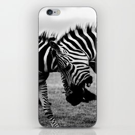 Let's Fight! // Wildlife Zebra Black Adn White Photography #society6 #art #prints iPhone Skin