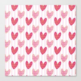 Blush pink white stripes heart mother's day typography Canvas Print