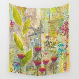 Purple Coneflower and Poppies Wall Tapestry