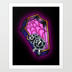 Vacancy - Empty Casket - Tattoo Style Coffin Art Print
