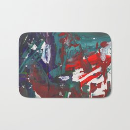 Bright multi-colored painting, contemporary art. Gouache acrylic paint, abstract texture hand drawn Bath Mat