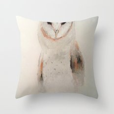 Owl in the fog Throw Pillow