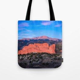Pikes Peak - Sunrise Over Garden of the Gods in Colorado Springs Tote Bag