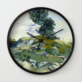 The Rocks by Vincent van Gogh Wall Clock