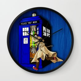 Blue tardis 02 Wall Clock