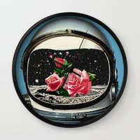 eugenia loli Wall Clocks featuring Spring Crop at the Rosseland Crater by Eugenia Loli