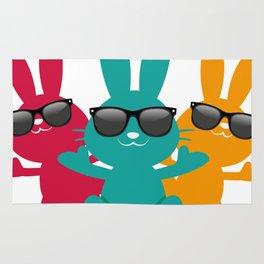 Hipster Hippop Easter Bunny Kids Bunnies Gift Rug