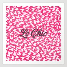 Neon Pink Chic Leopard Print Girly Zigzag Pattern Art Print