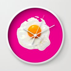 Sunny Side Up Egg on Hot Pink Wall Clock