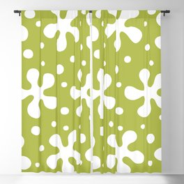 Pretty Mid Century Modern Floral Pattern 321 Olive Blackout Curtain