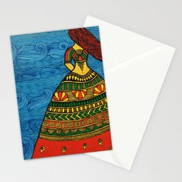 By The Sea madhubani painting Stationery Cards