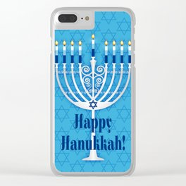 Happy Hanukkah Lit Menorah Clear iPhone Case