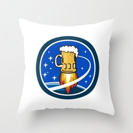 Beer Mug Rocket Ship Space Circle Retro Throw Pillow
