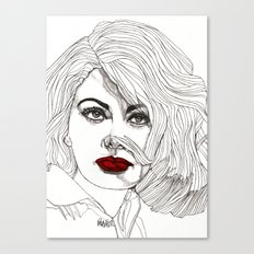 Sophia with Red Lips Canvas Print