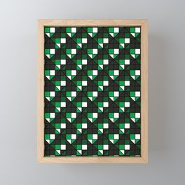 dark green diagonal squares Framed Mini Art Print