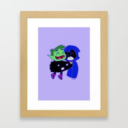 teen titans - raven and beast bot Framed Art Print