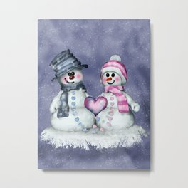 Snowman in love Metal Print
