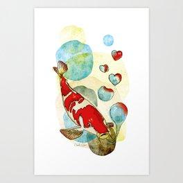 Koi Fish In Love Art Print